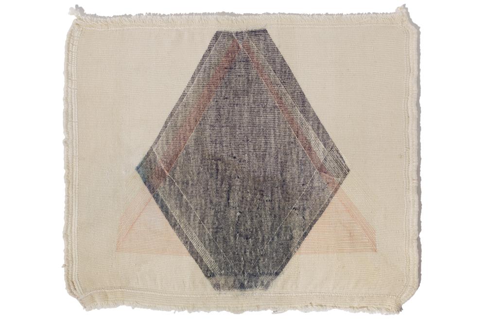 Haleh Redjaian  Untitled , 2015 thread on hand woven textile, 75 x 75 x 8 cm (mit Plaxiglasrahmen)