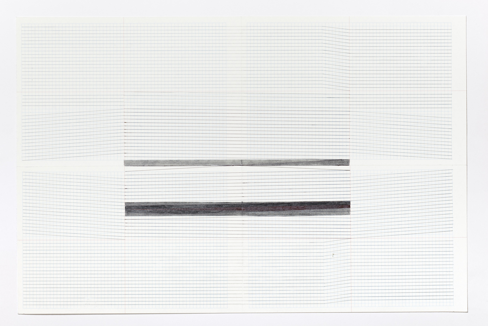 Haleh Redjaian  Untitled (4/9) , 2015 pencil on paper, 6 x 32 x 3 cm framed