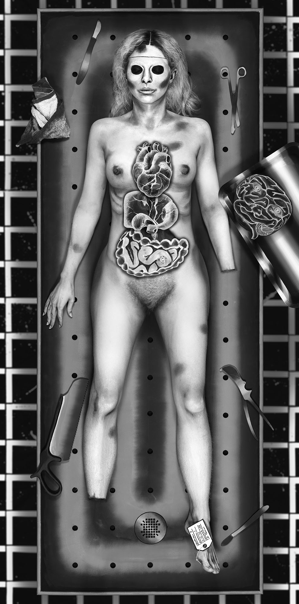 Mary Reid Kelley   I Feel Ya, Ophelia (The Autopsy)   Light Box, 170 x 80 cm  2016