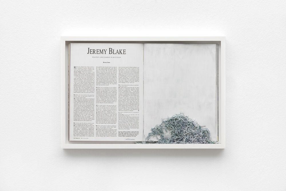 Ereased Blake , 2016 framed magazine and eraser abrasion, 31 x 45.5 cm