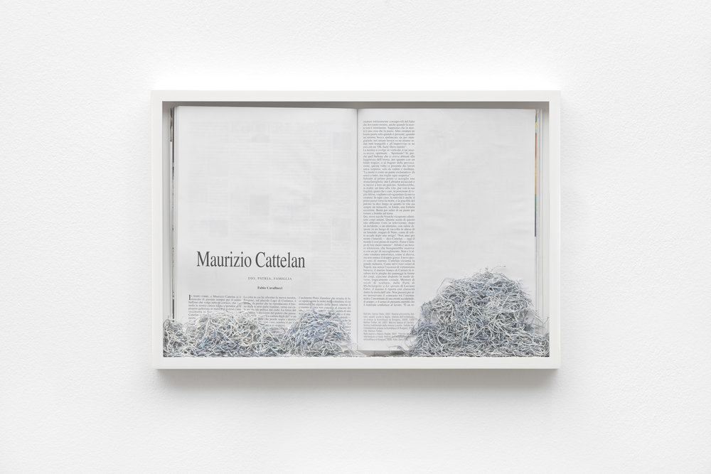 Maria Anwander,  Ereased Cattelan , 2016, framed magazine and eraser abrasion, 31 x 45.5 cm