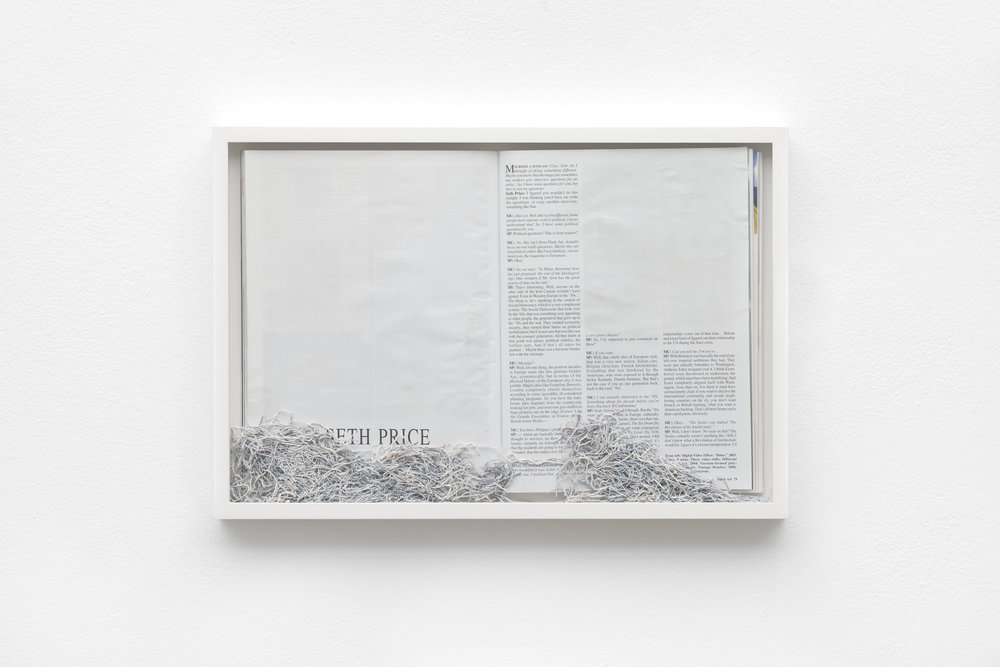 Maria Anwander,  Ereased Price , 2014, framed magazine and eraser abrasion, 31 x 45.5 cm