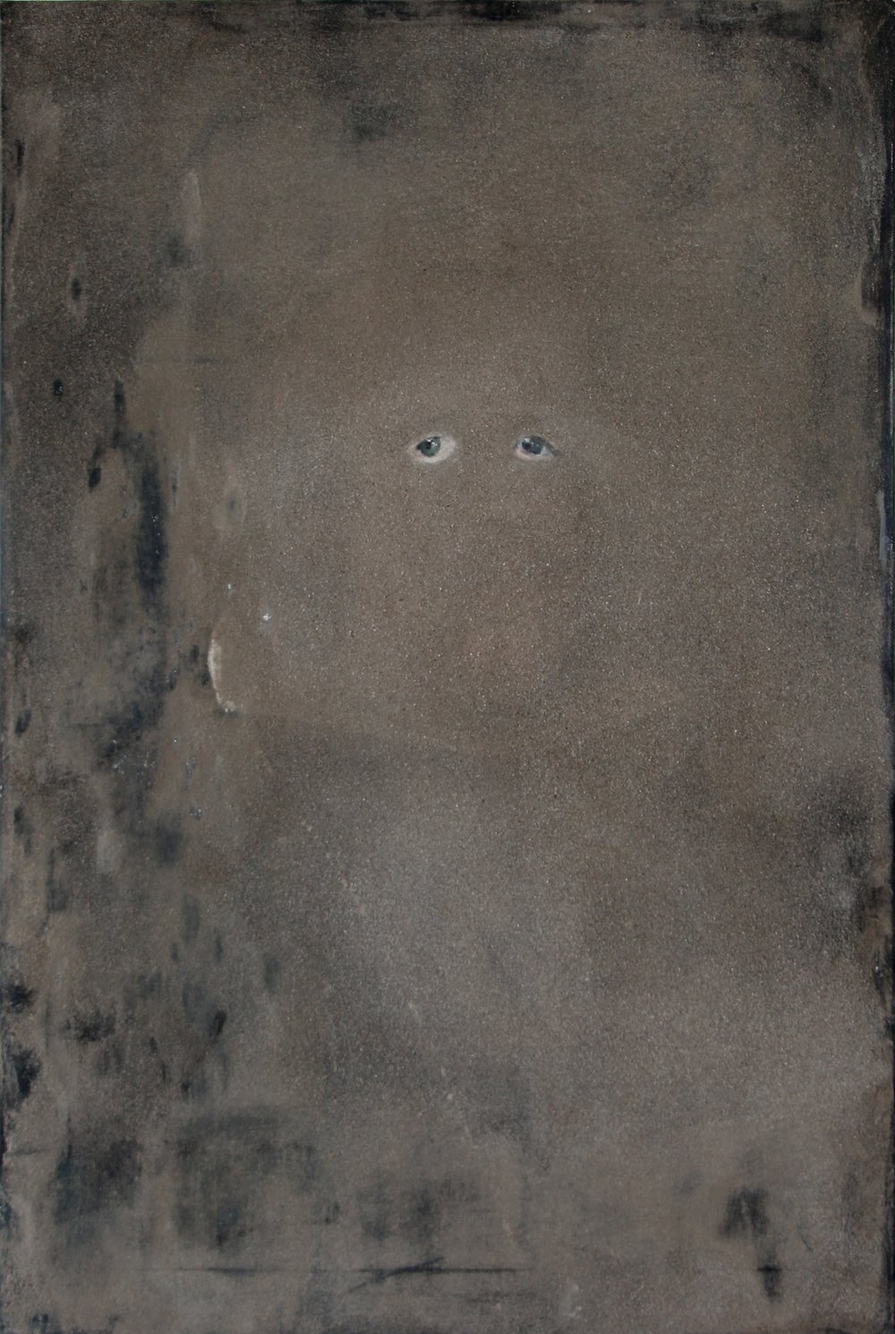 Monochrome with eyes. After. Philip IV. , 2014 dust on oil on canvas, 79 x 56 cm