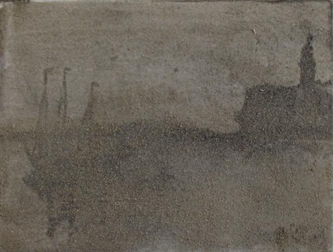 Pablo Rasgado  Dust storm. After. Le Port de Málaga , 2014 dust on oil on canvas, 18 x 24 cm