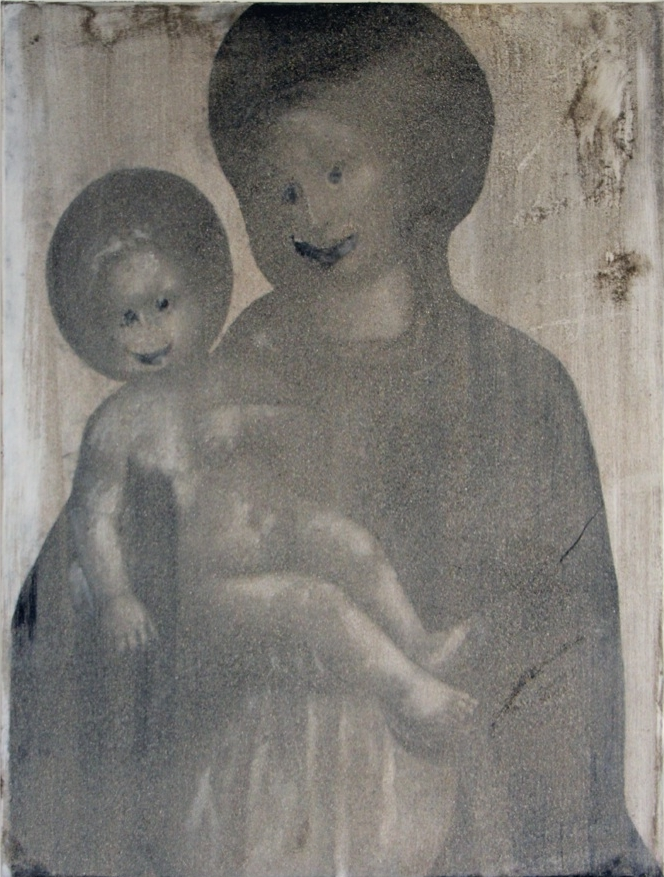 Pablo Rasgado  Smiling. After. Virgo Lactans , 2014 dust on acrylic on canvas, 68,8 x 49,5 cm