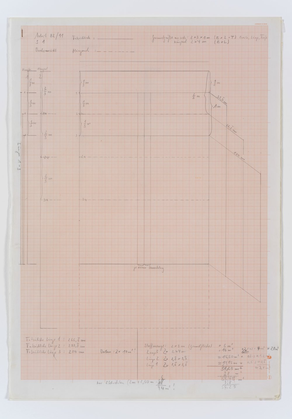 Untitled , early 1980's construction drawing on scale paper, 59 x 41,5 cm