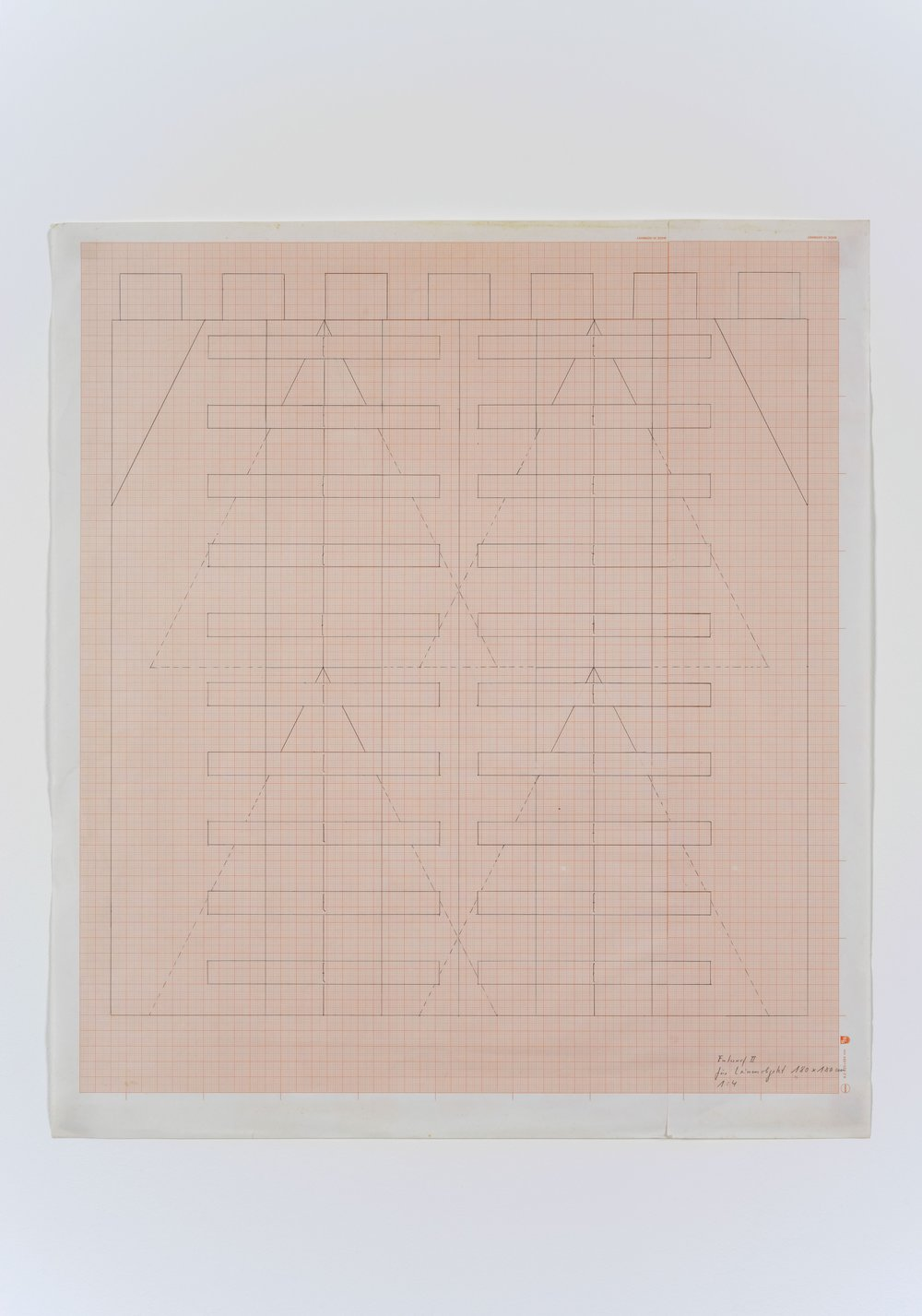 Untitled , early 1980's construction drawing on scale paper, 57 x 65 cm, framed