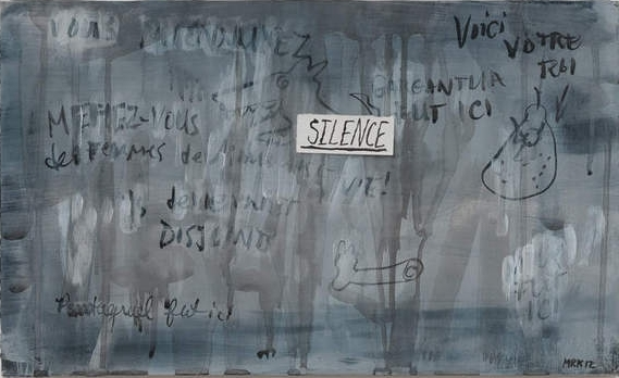 Mary Reid Kelley  Silence,  2012 collage, watercolor, charcoal and acrylic on canvas