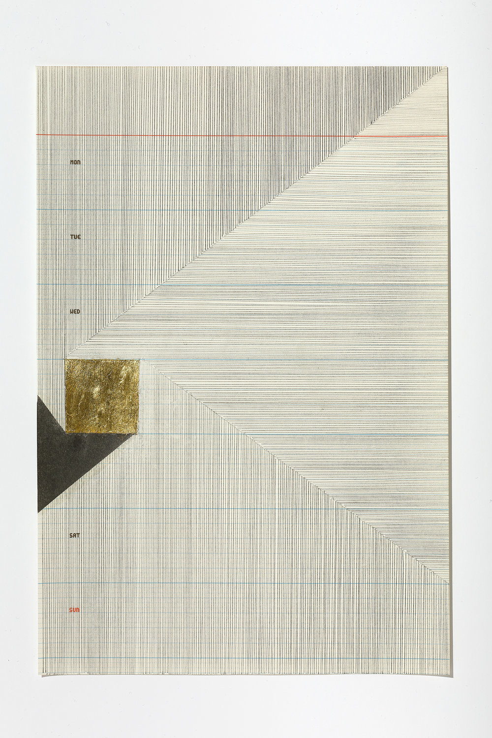 Untitled (4/6) ,2017 graphite and gold leaf on paper, 28,5 x 19,5 cm