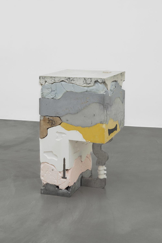 Reflux , 2017  105 x 61 x 55 cm  plaster, jesmonite, oak, cement, aluminum, marble, steel, tumeric, grit, poppy seeds, ash, paint