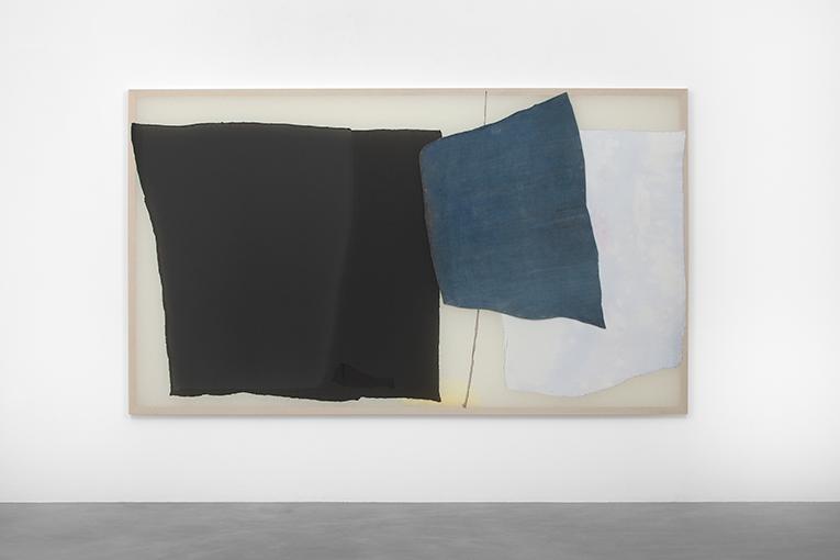 Untitled #44 (Nov 15:58), 2017,polyester, bleach, tulle,nettle on wood, 177,5 x 305 cm