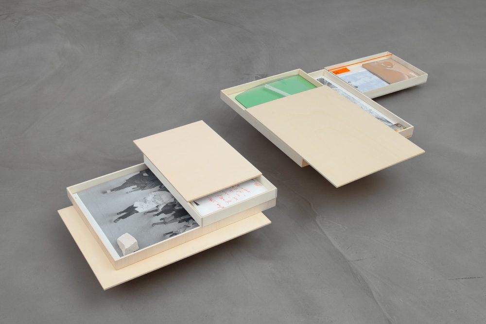 Materials Lab,  2017, set of plywood boxes and various work and research materials,      100 x 80 x 0,2 cm