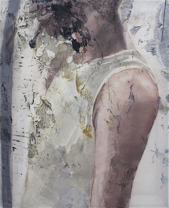 Matt Saunders  Jane's Shoulder , 2018 Oil on chiffon, 82 x 65 cm