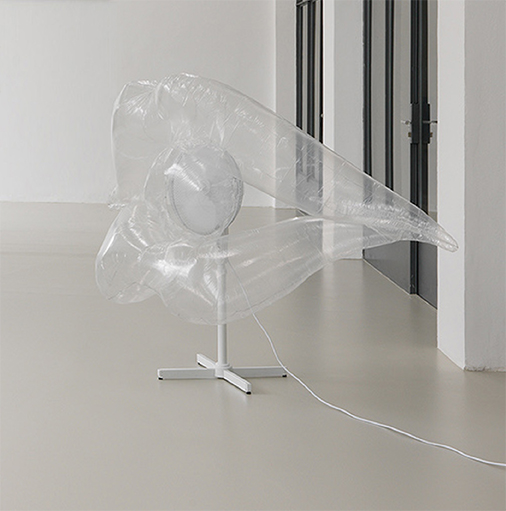 Mouth , 2016 Plastic foil, wire, fan, electricity cable, 150 x 130 x 70 cm