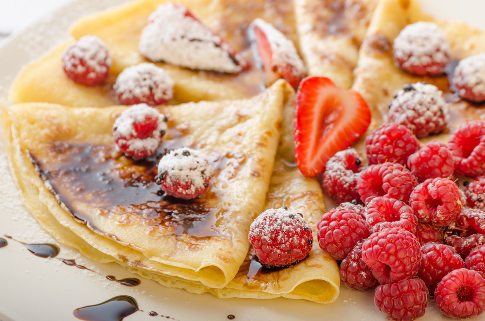 Crepes with Sticky Balsamic, Strawberries and Raspberries