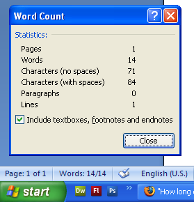 Personal statement character count