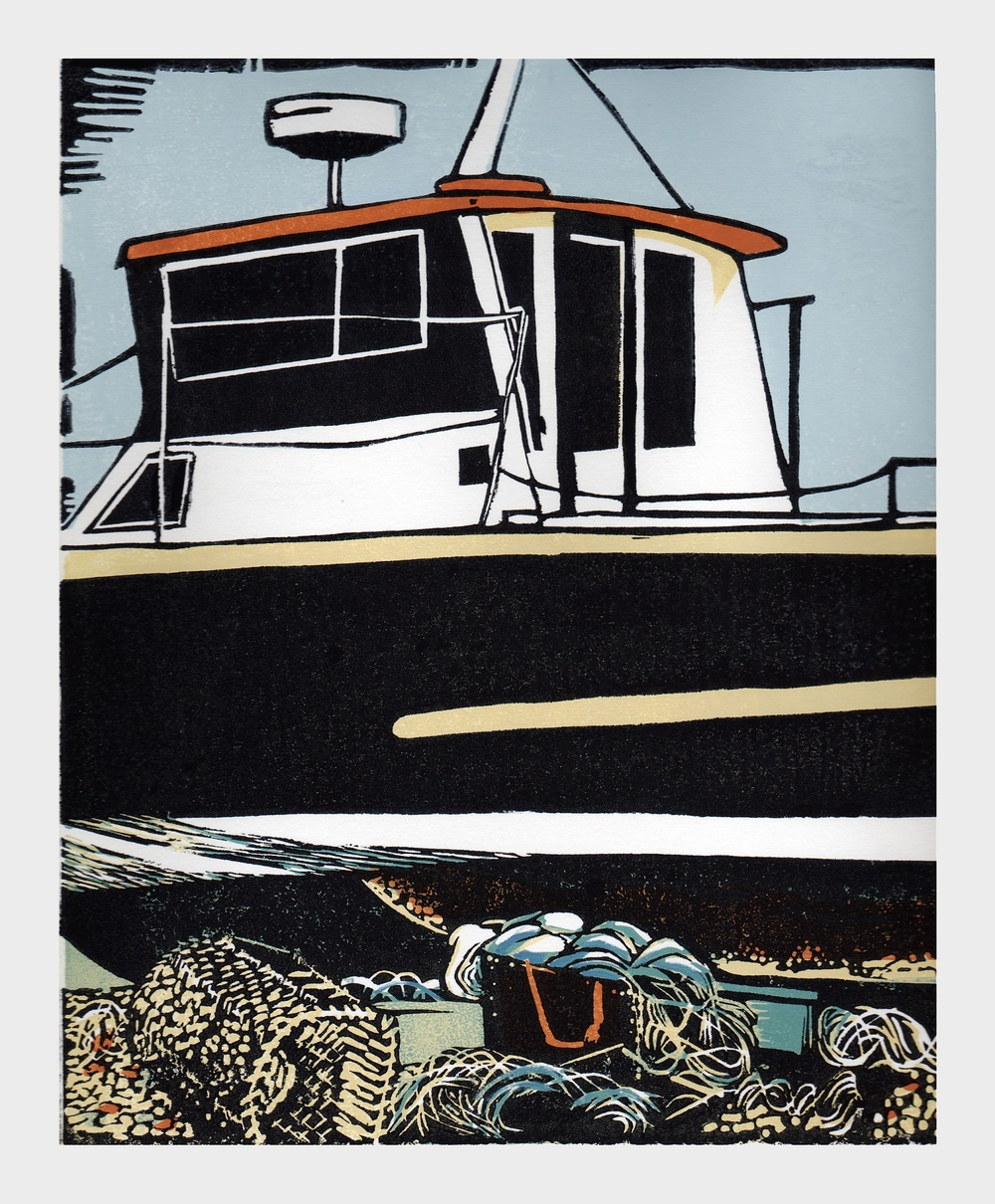 A Good Catch   linocut