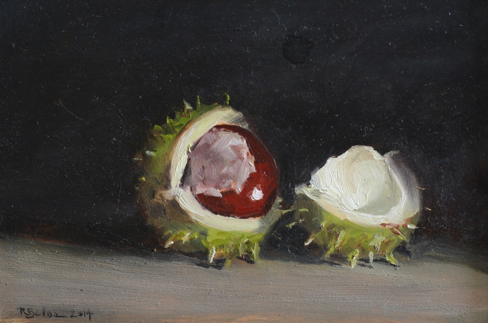 Conker I oil on gesso panel 10 x 15 cm sold