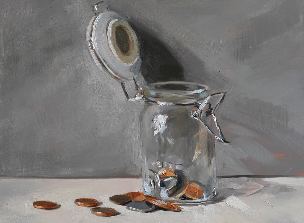 Jar of Pennies   oil on gesso panel   18 x 24 cm  sold