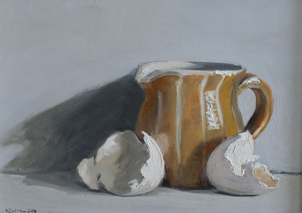 Jug and egg Shells oil on gesso panel 13 x 18 cm £350