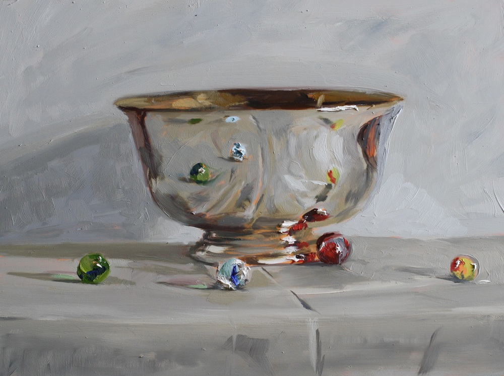 Silver Bowl and Marbles oil on gesso panel 18 x 24 cm sold