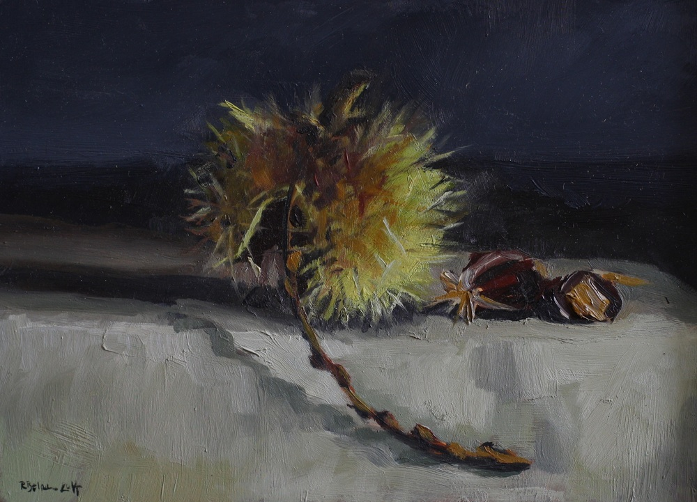 Sweet Chestnut II oil on gesso panel 13 x 19 cm £350