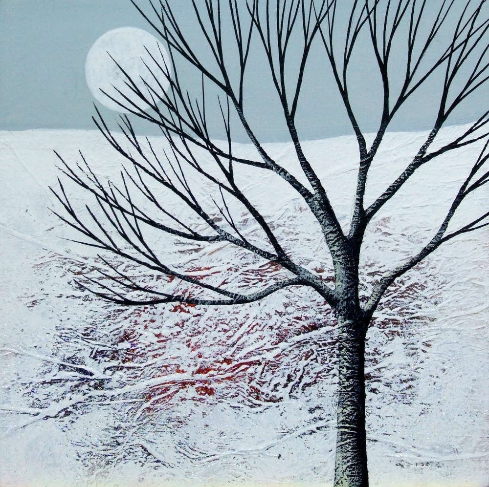 Winter Moonrise  acrylic & mixed media  SOLD  .