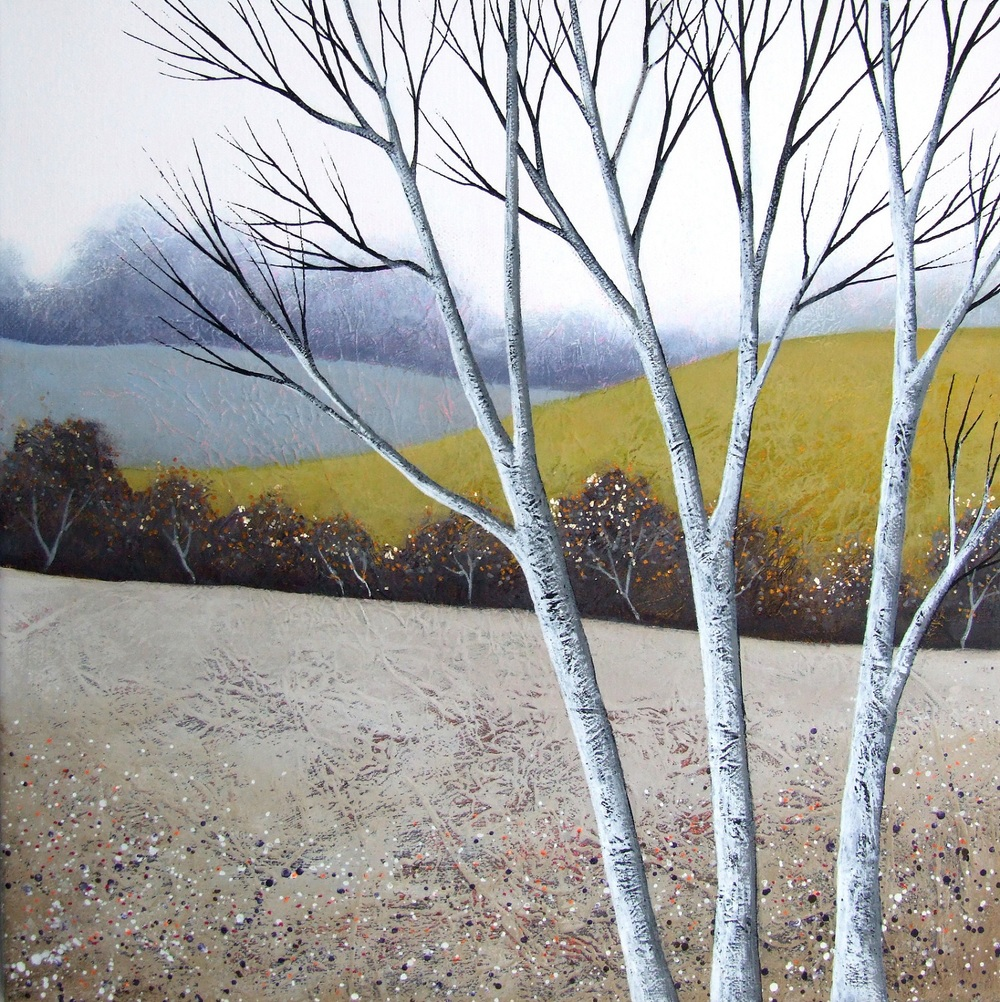 The Elegant Birches III  acrylic & mixed media  SOLD    .