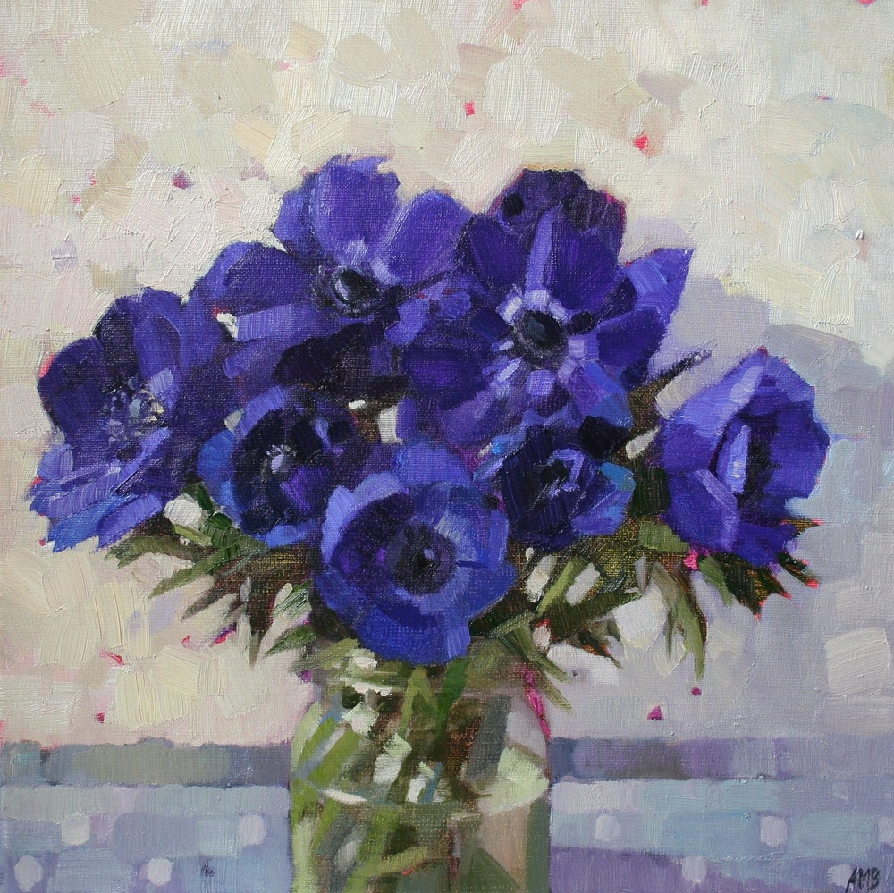 Blue Anemones in a Jam Jar oil 60 x 60 cm sold
