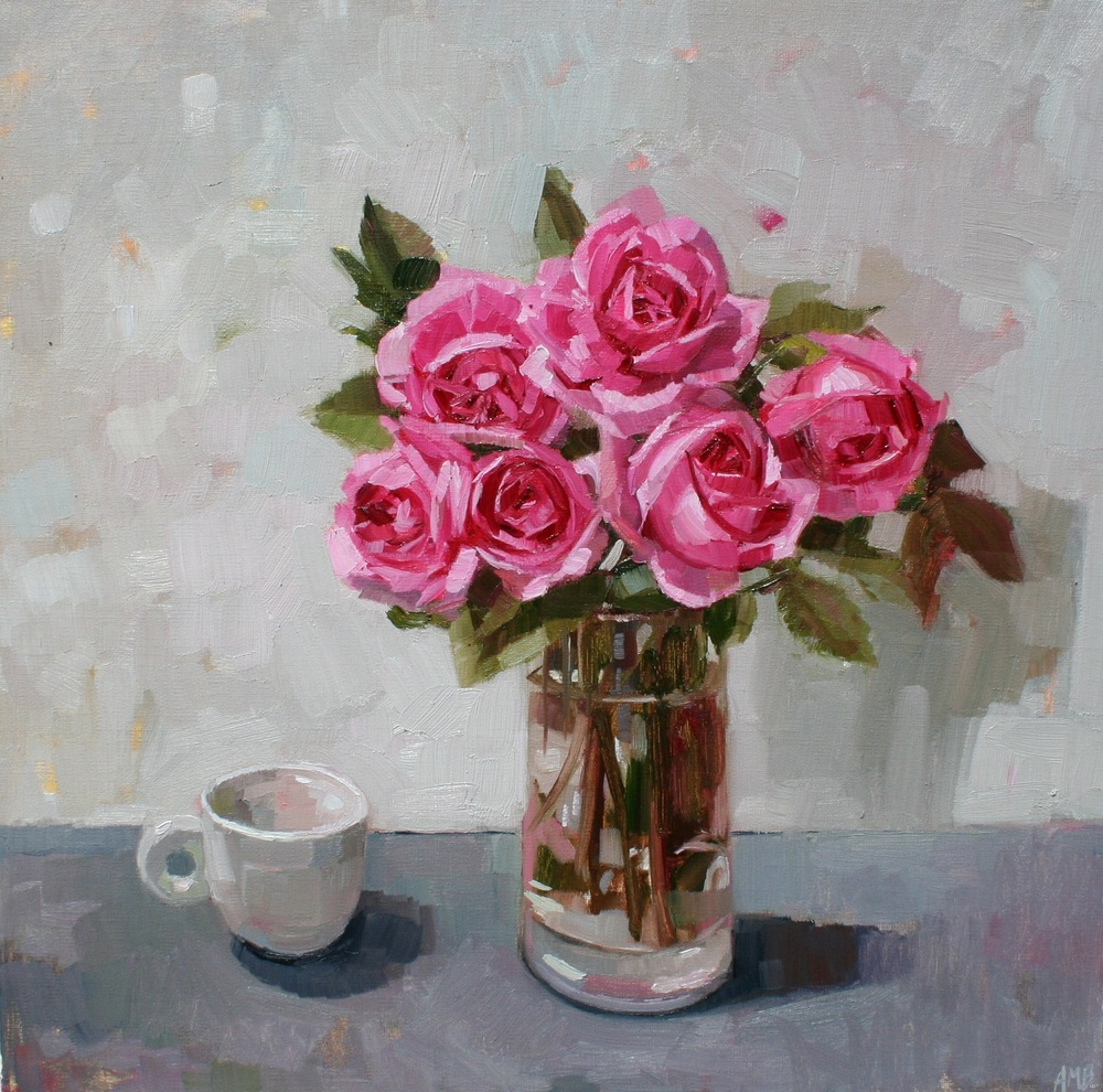 Gertrude Jekyll Roses and White Cup oil 40 x 40 cm sold