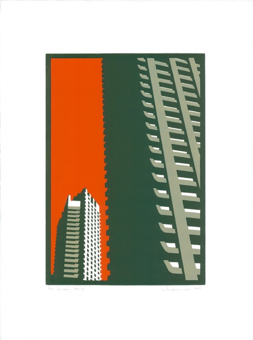 Barbican Orange linocut 52 x 35 cm £425 (unframed)