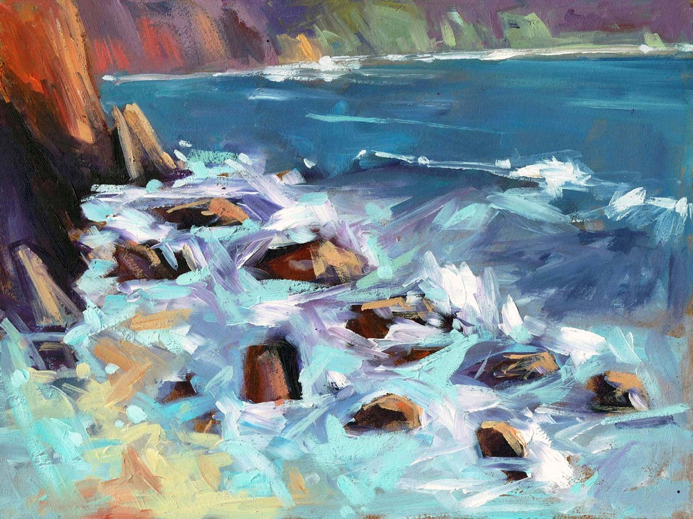 Rocks on Priests Cove oil on paper 15 x 20cm £250