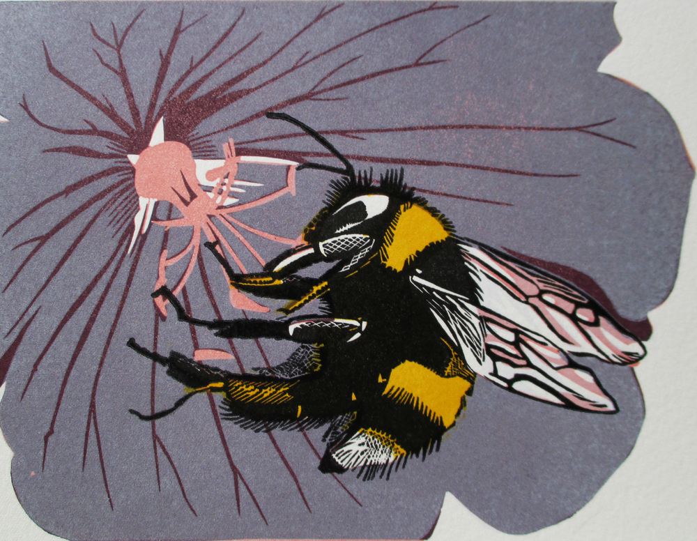 Bumblebee   linocut