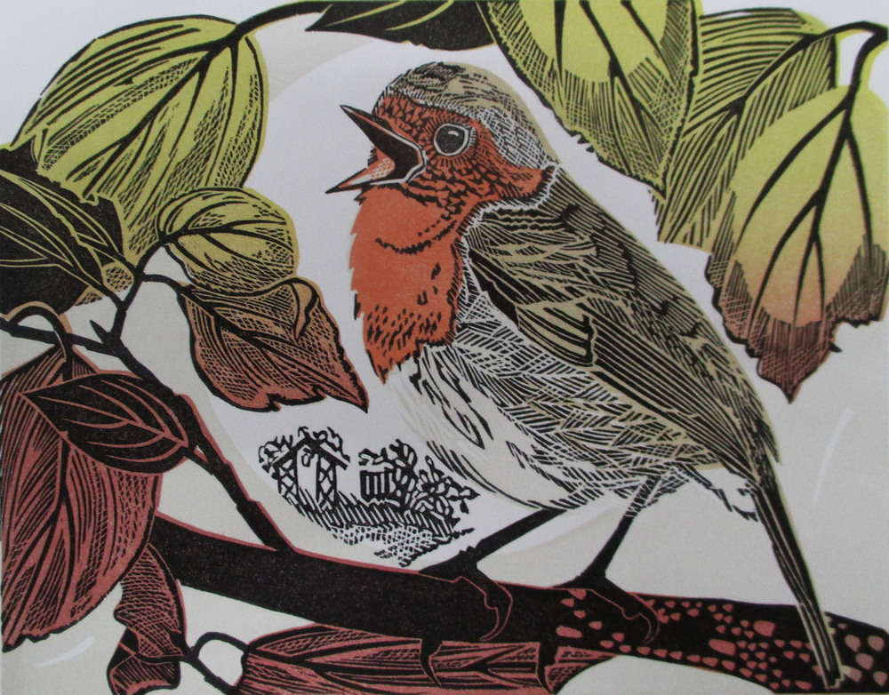 Robin   linocut