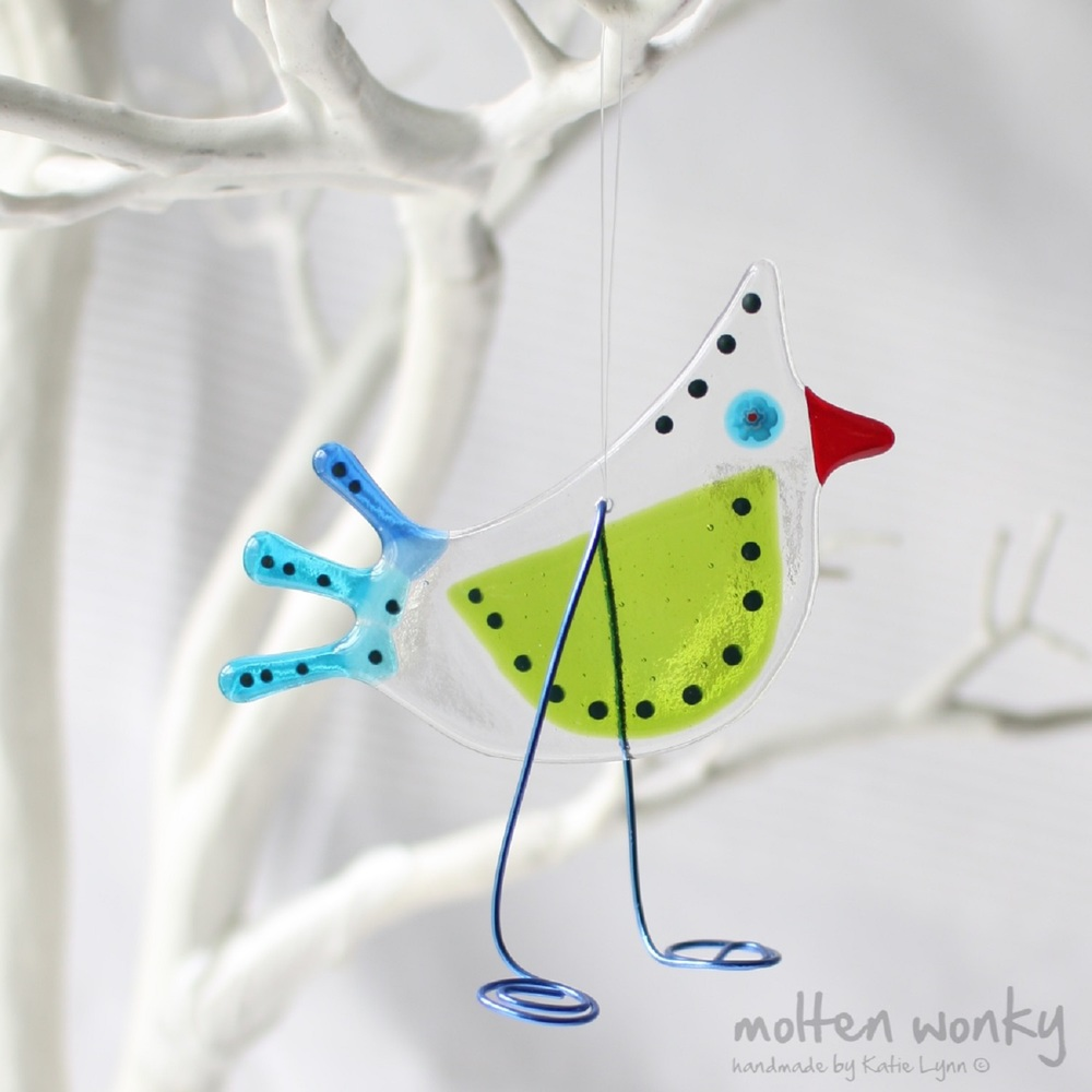 Green Paradise Mix Bird Decoration fused glass £18