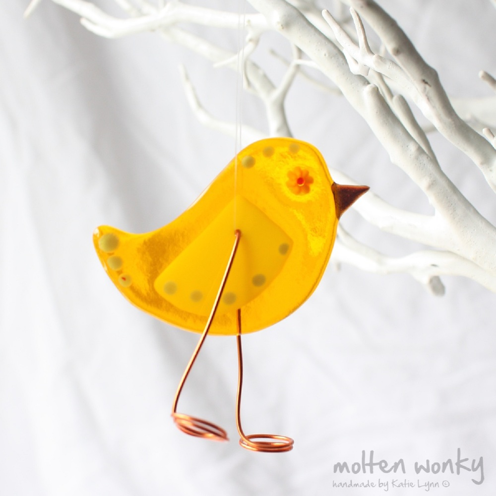 Chick Bird Decoration fused glass £18