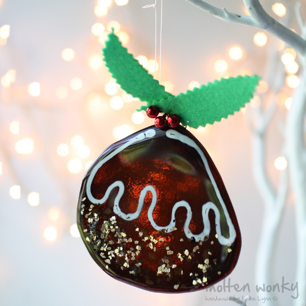 Christmas Pudding Decoration with Wavy Icing fused glass £18