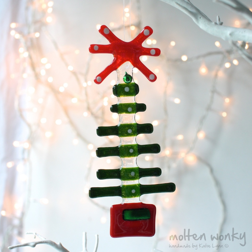 Tree with Red Star Decoration fused glass £20