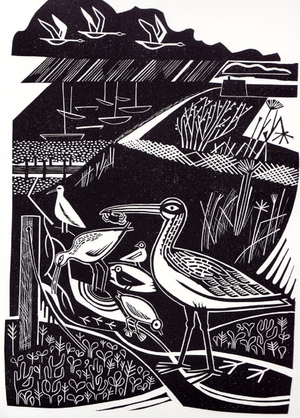 Winter Estuary   linocut