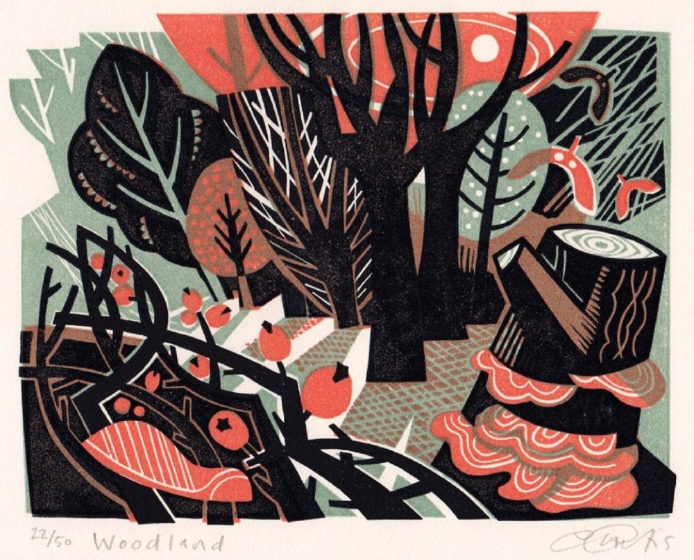 Woodland   linocut