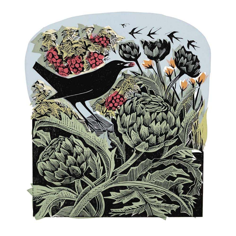 Blackbird Stealing Redcurrants linocut and silkscreen print