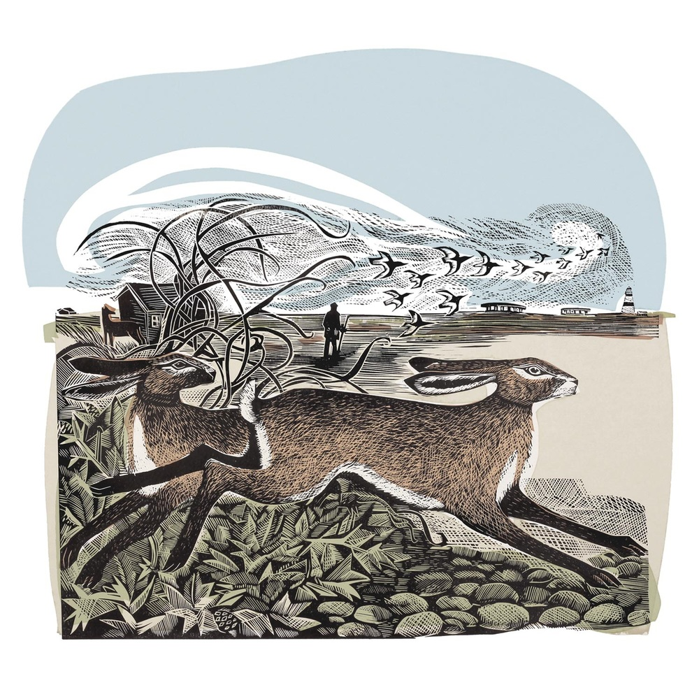 Orford Hares linocut and silkscreen print