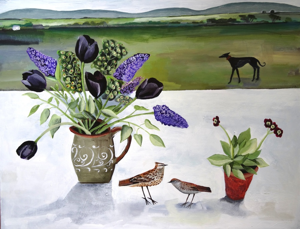 Black Tulips and Black Whippet acrylic on canvas 100 x 80cm SOLD