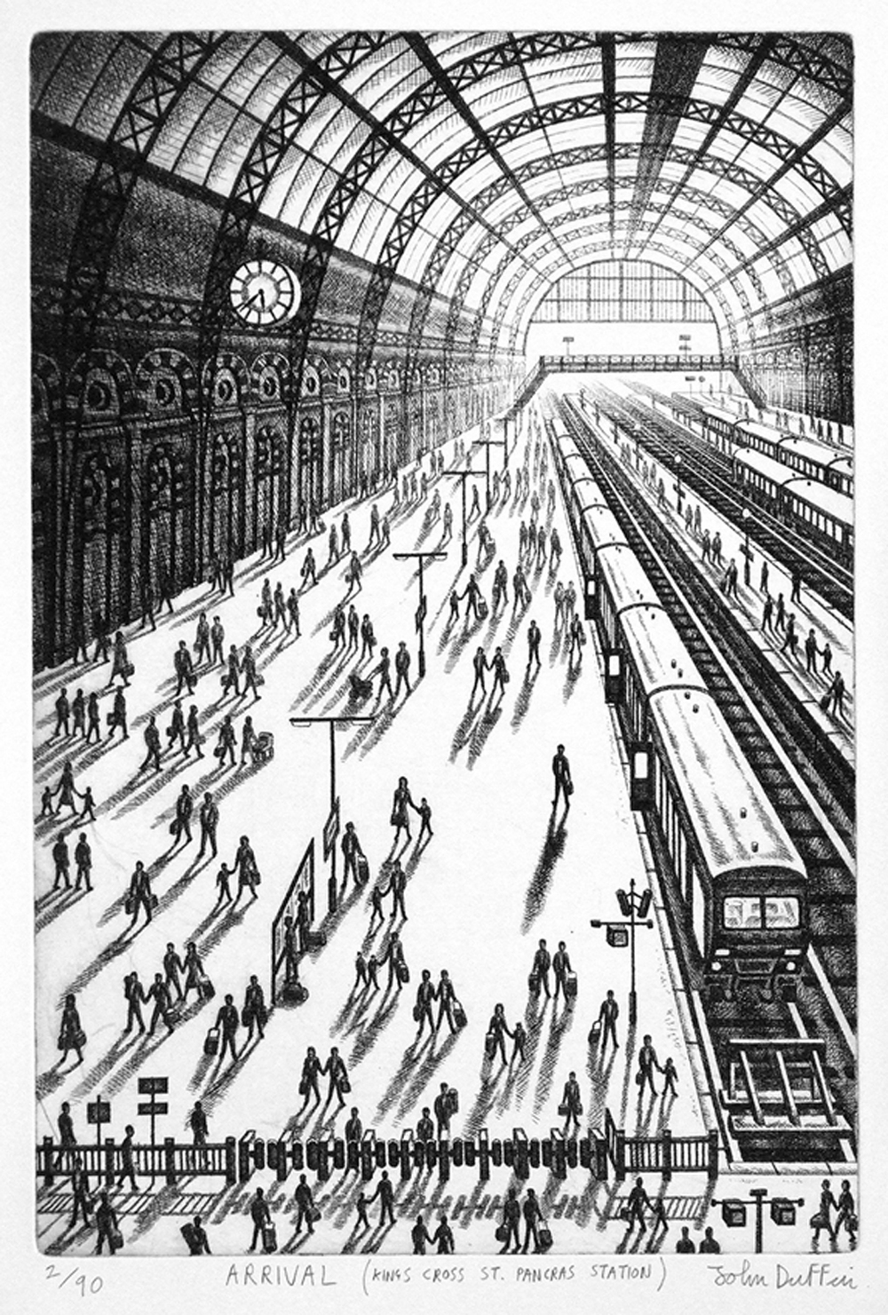 John Duffin   Arrival (King's Cross St Pancras)   etching