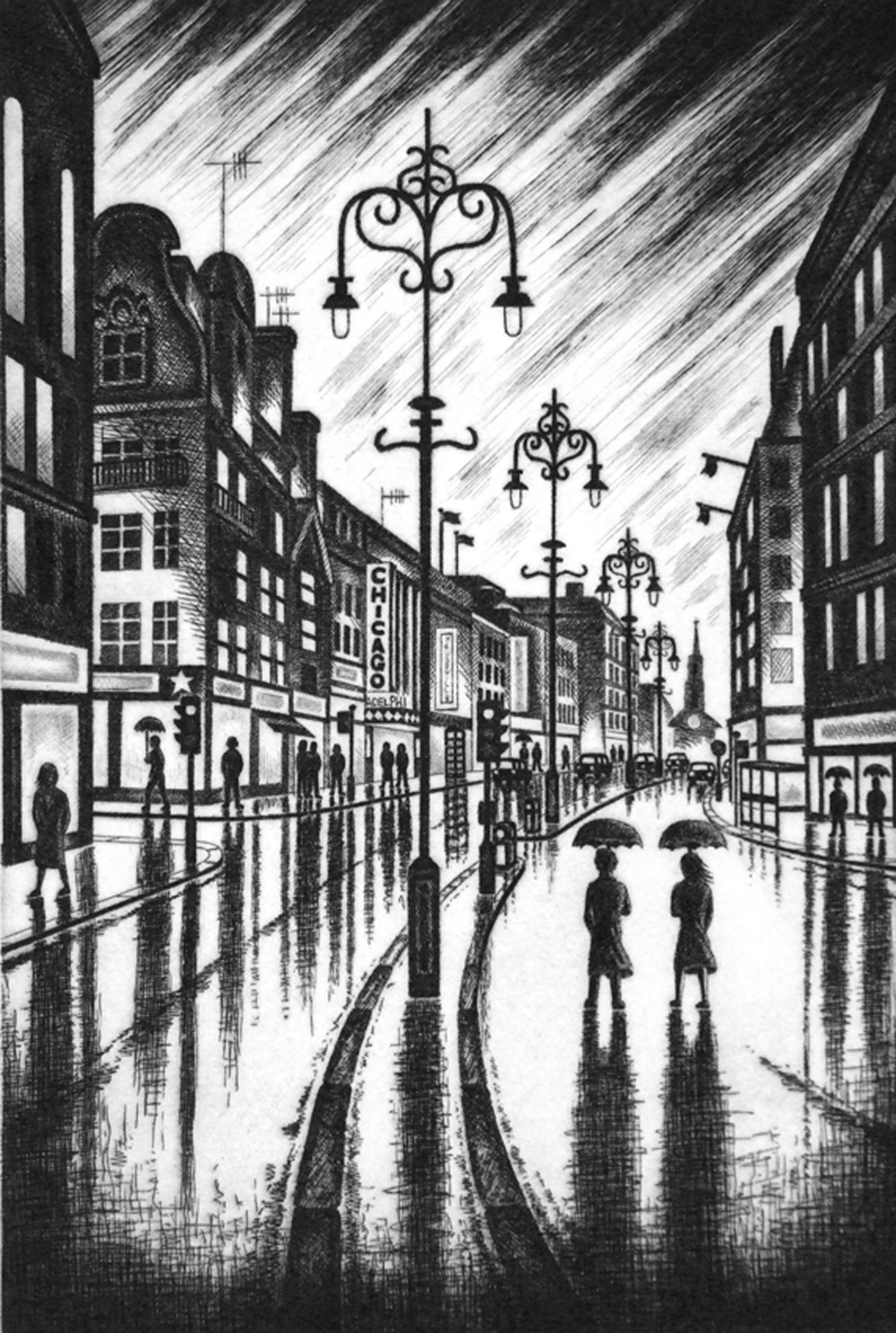 John Duffin   City Rain (The Strand, London WC2)   etching