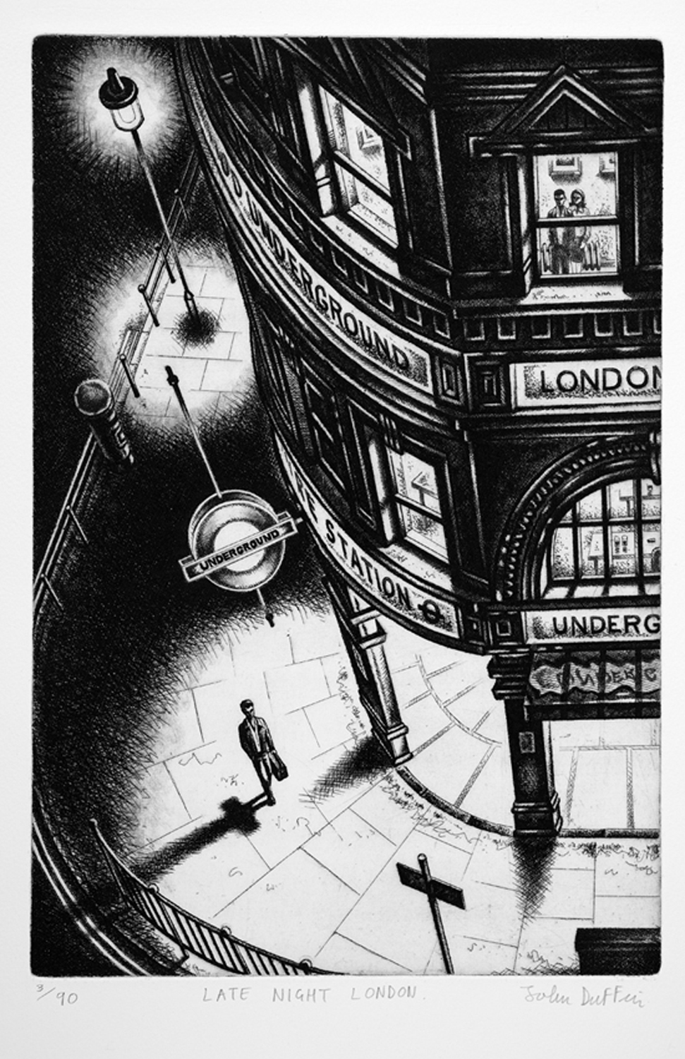 John Duffin   Late Night London   etching