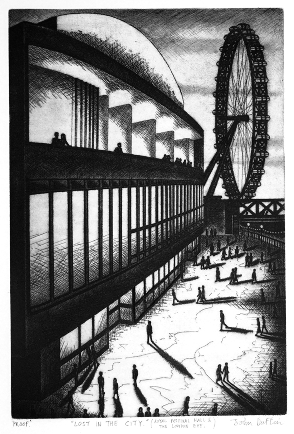John Duffin   Lost in the City (Royal Festival Hall & The London Eye)   etching