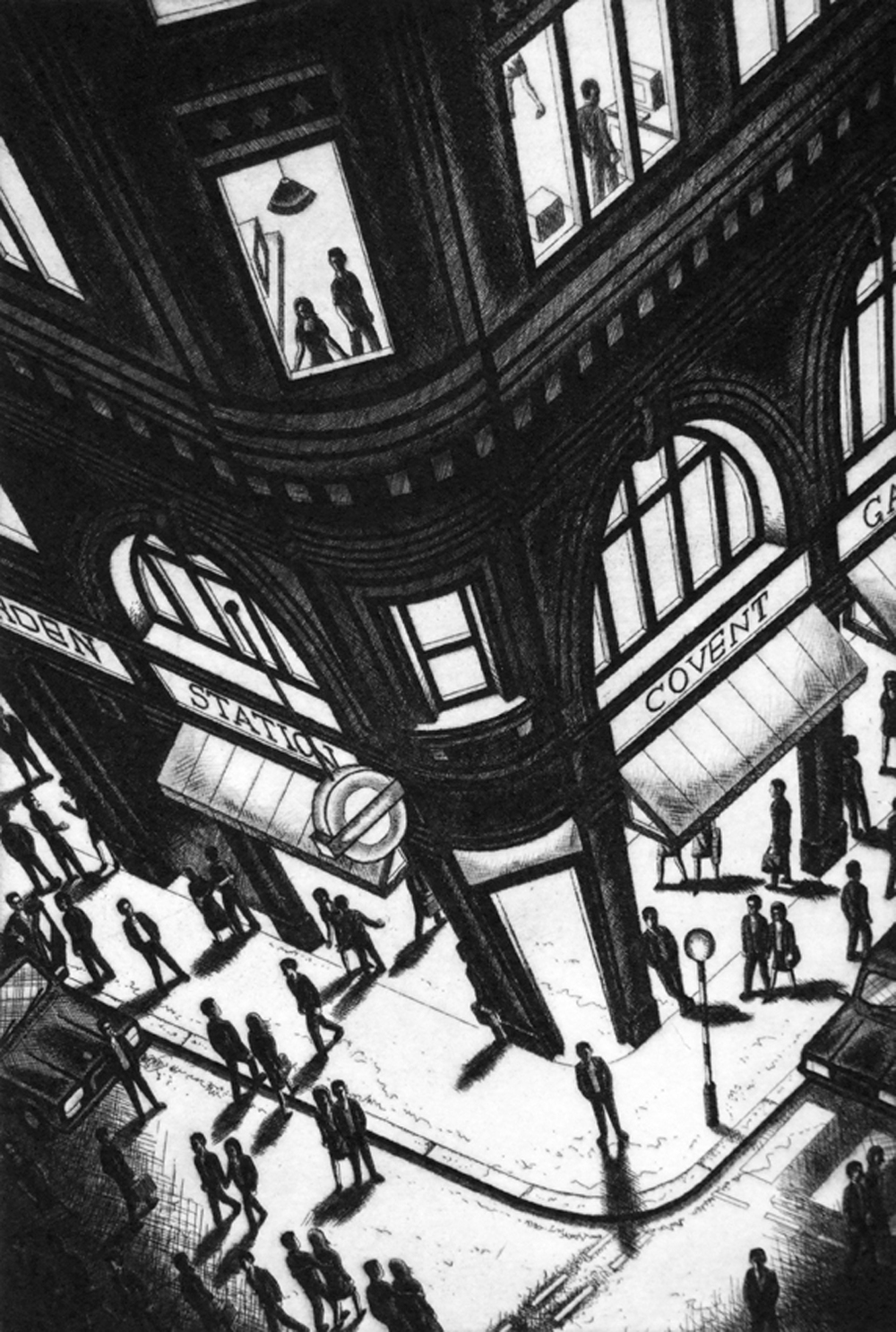John Duffin   Night Time (Covent Garden Tube Station, London)   etching