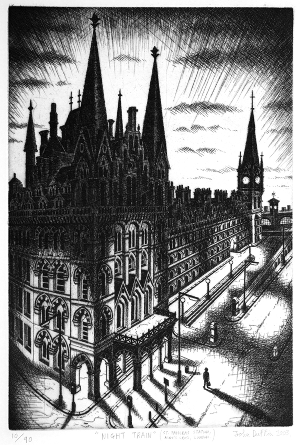 John Duffin   Night Train (St Pancras Station, Kings Cross, London)   etching