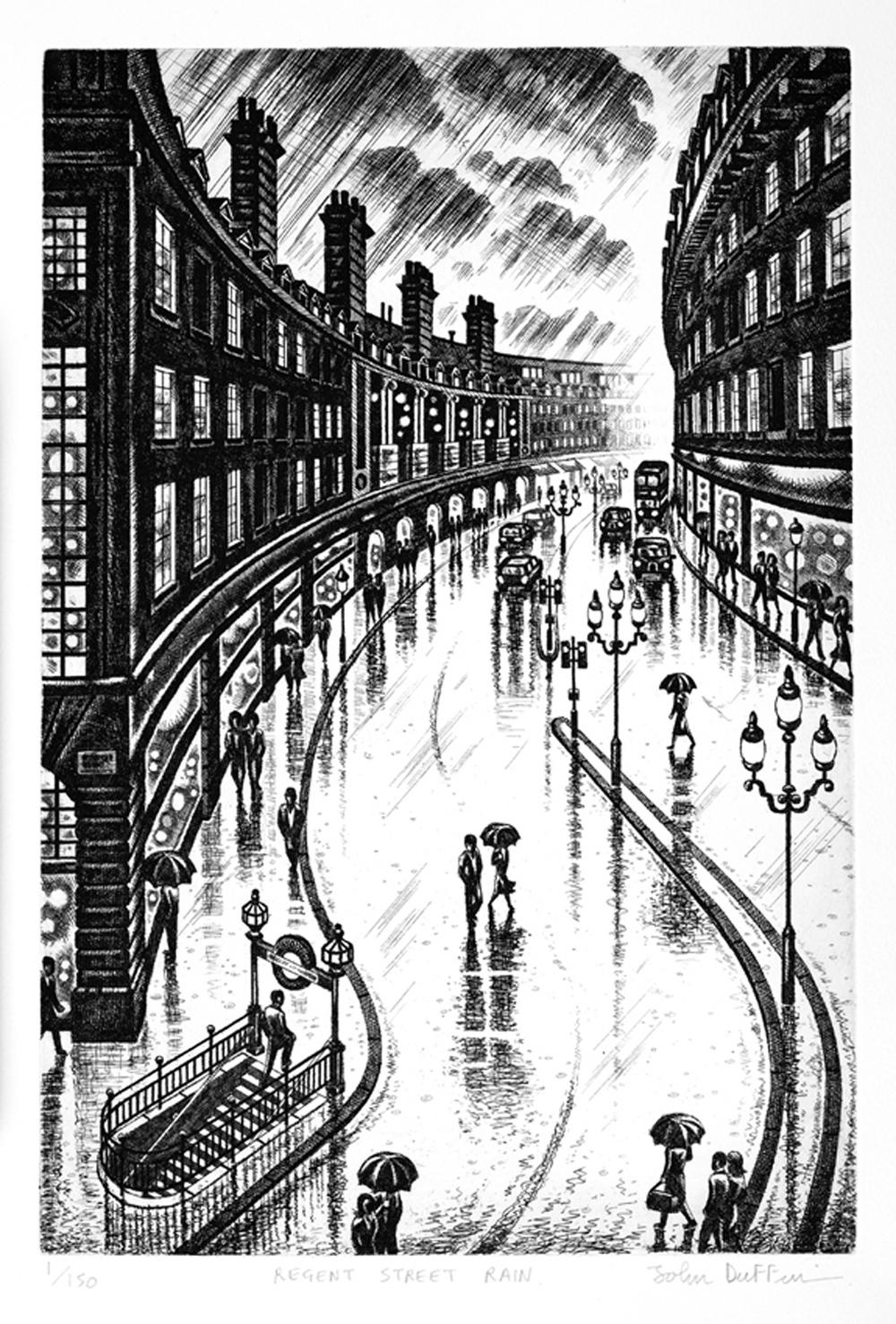 John Duffin Regent Street Rain etching
